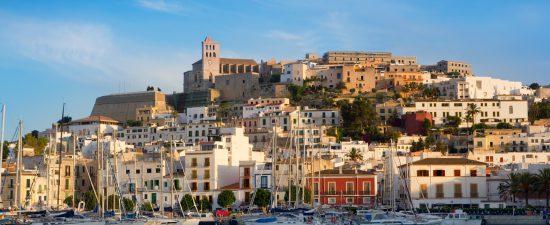 Ibiza Eivissa town with blue Mediterranean sea city view