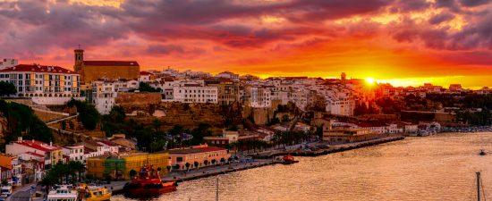 Sunset over Mahon harbor - Menorca, Balearic islands, Spain